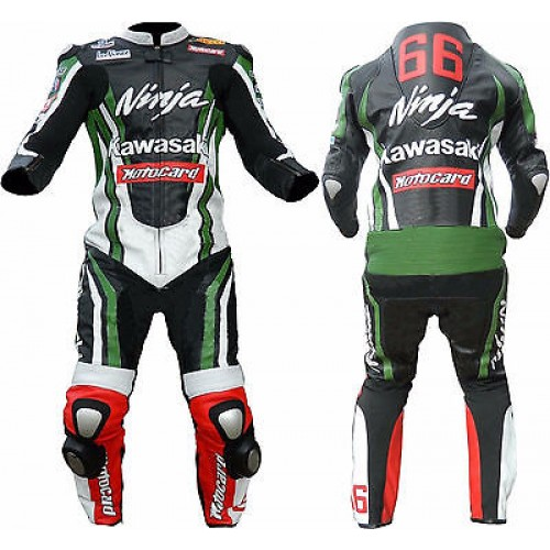 NINJA KAWASAKI MOTORBIKE MOTOGP MOTORCYCLE RACING LEATHER SUIT